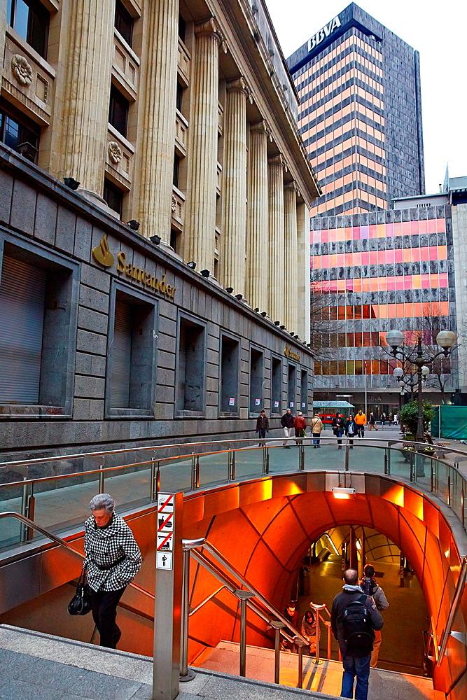 Subway station, BBVA Bank Building, Bilbao, Bizkaia, Basque Country, Spain.