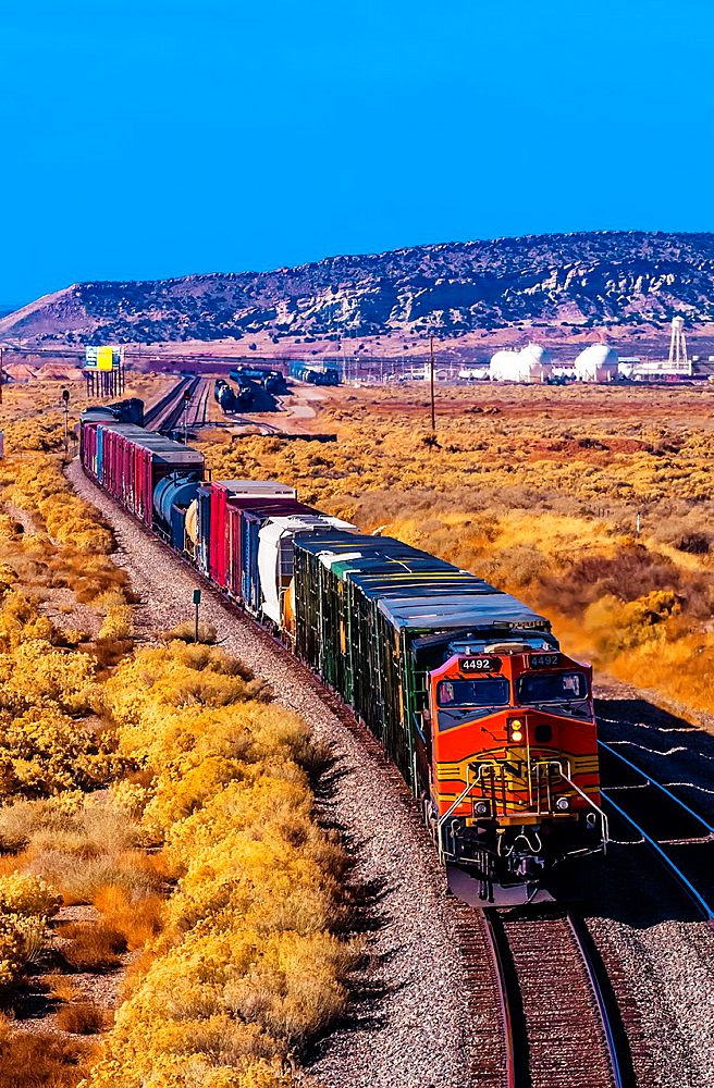 Overview of a freight train near Gallup, New Mexico USA