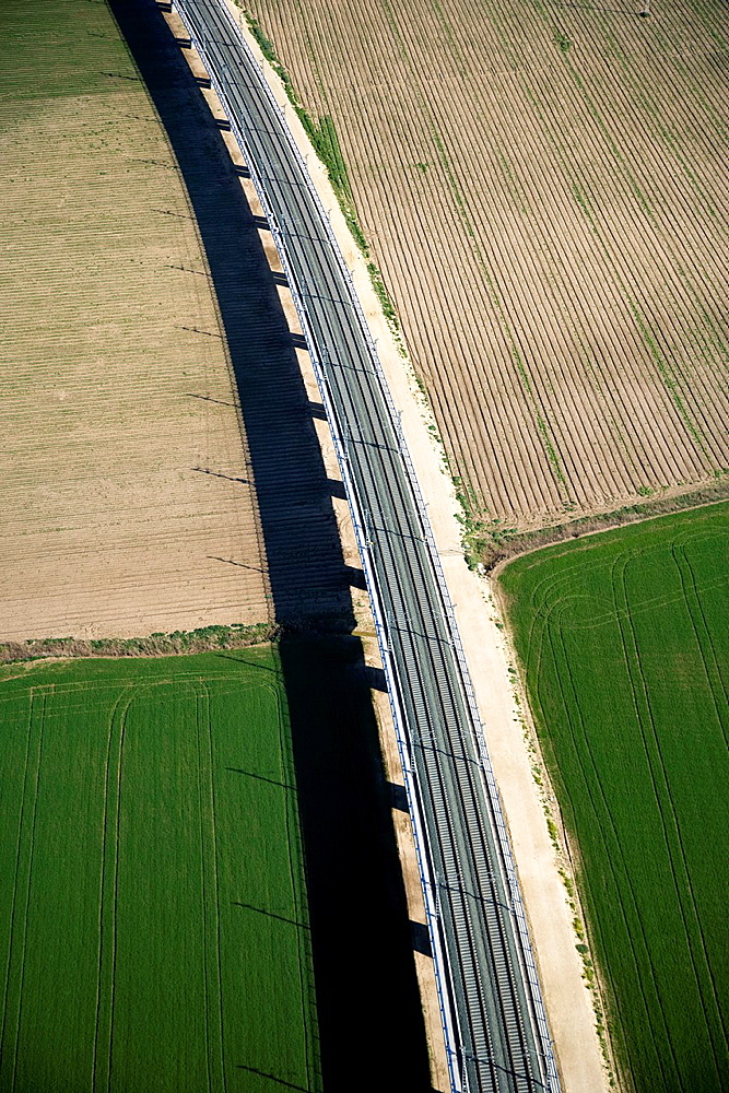 aerial view of train tracks and cultivated fields, Cadiz, Spain, Europe