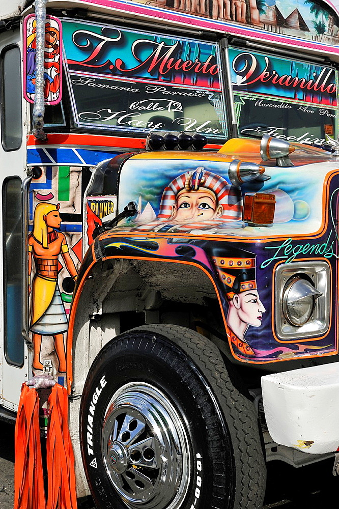 Diablo Rojo-Red Devil, Bus In Panama, Colon, Republic Of Panama, Central America