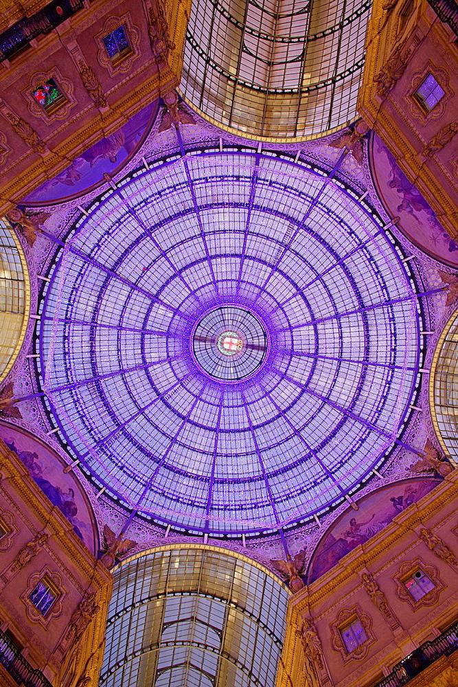 Illumination of Vittorio Emanuele II gallery, Milan, Italy