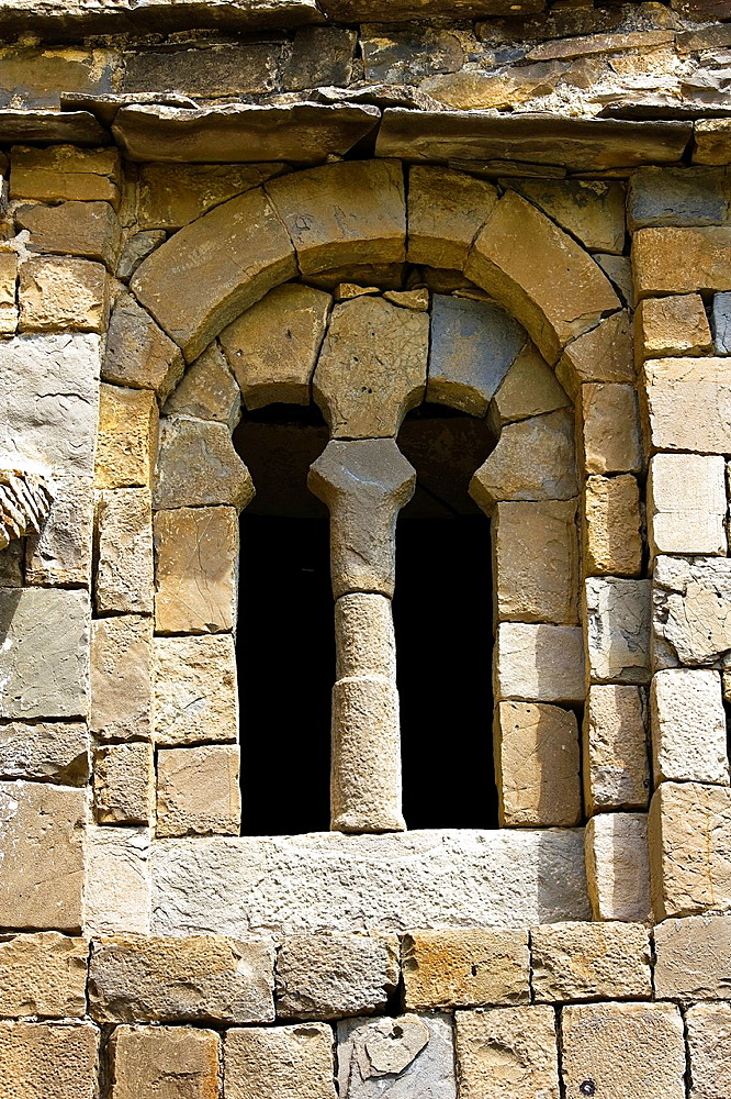 Window with horseshoe arches, Mozarabic, Romanesque Church Santa Eulalia de Susin, Biescas, Serrablo, Alto Gallego, Huesca Province, Aragon, Aragon Pyrenees, Spain, Europe
