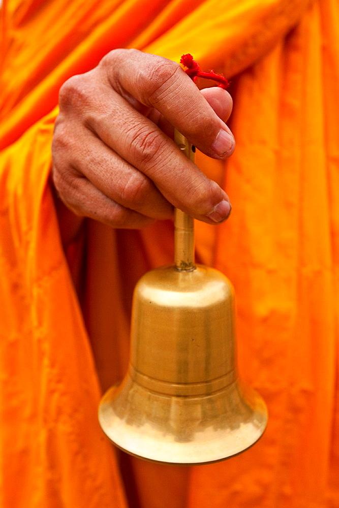 Buddhist Monk and Bell, Temple of Literature, Hanoi, Vietnam