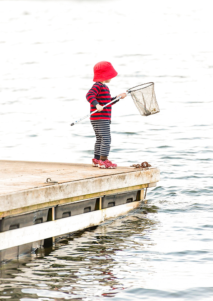 Young child standing on dock by the sea watching the water with fishing net in hand