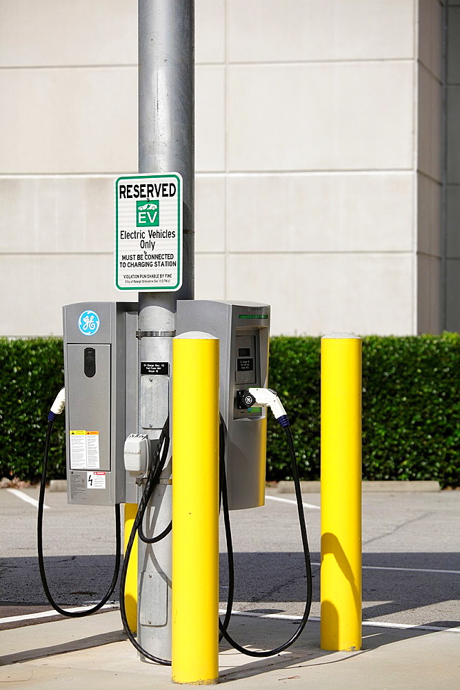Electric vehicle charging station at public parking facility, Raleigh, North Carolina, USA