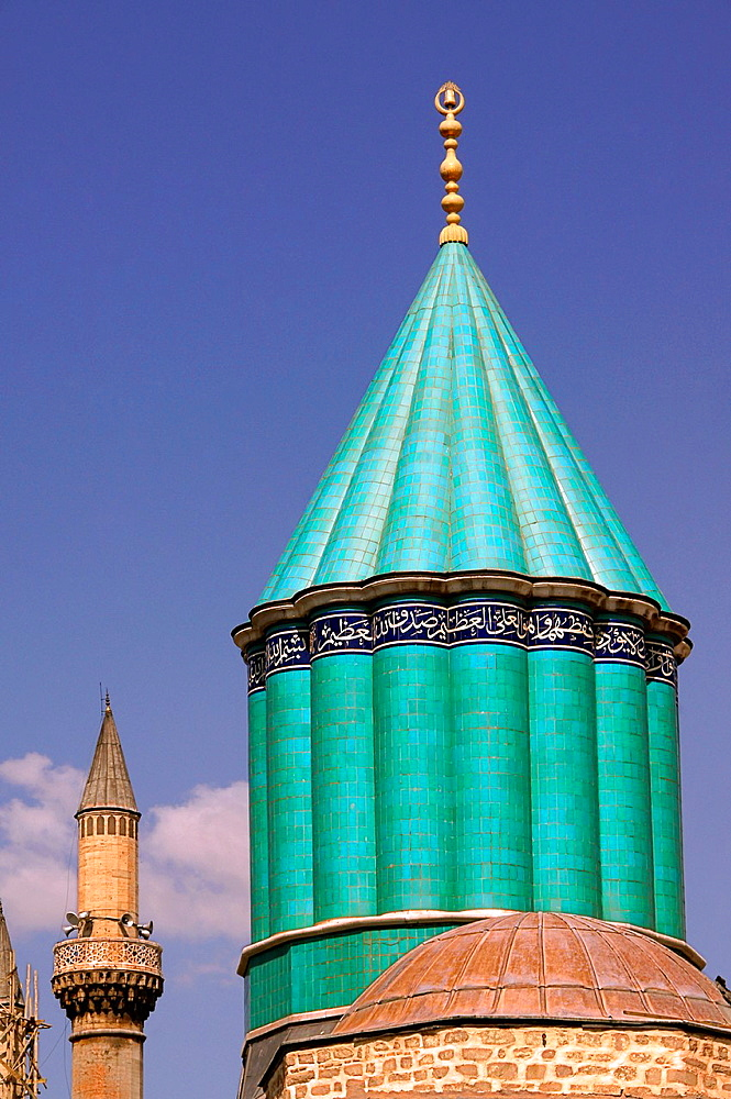 Minaret of the tomb of the 'Rumi' at the Mevlana Tekkesi, Konya, Anatolia, Turkey - 817-435443