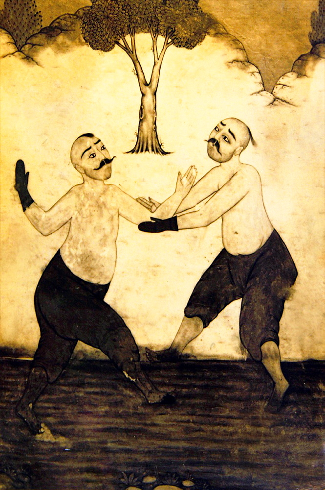 19th century drawing depicting wrestlers of 'Kirkpinar Guresleri' Turkish oil-wrestling, Edirne, Thrace, Turkey