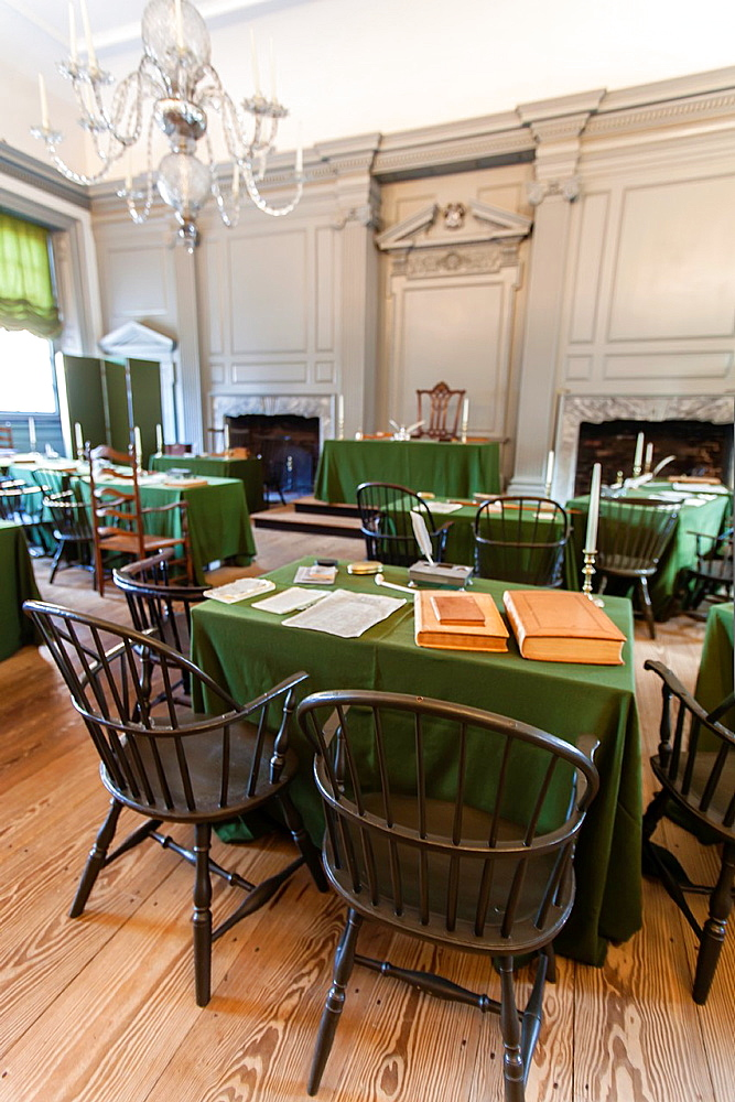 Assembly room in Independence Hall where the US Constitution and Bill of Rights were adopted
