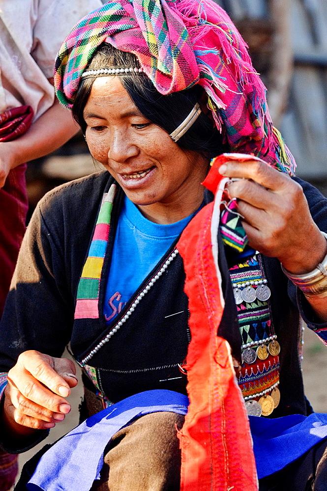 portrait of an ethnic Akha woman, Phongsaly, Laos