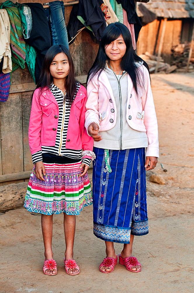 portrait of Akha girls, Phongsaly, Laos