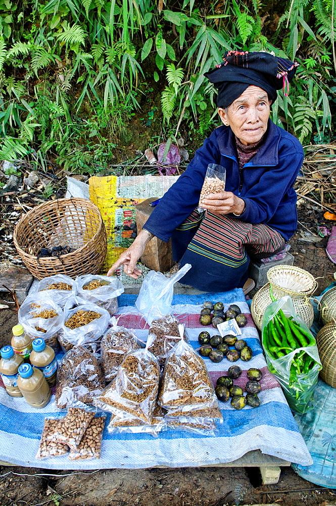 hill tribe vendor, Phongsaly, Laos