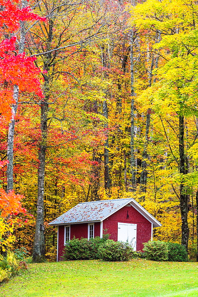 House with colorful trees in autumn, Vermont, USA