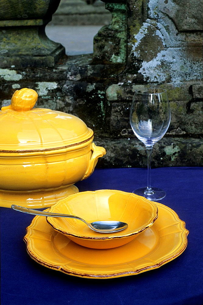 soup set made at the earthenware factory of Niderviller, Moselle department, Lorraine region, France, Europe