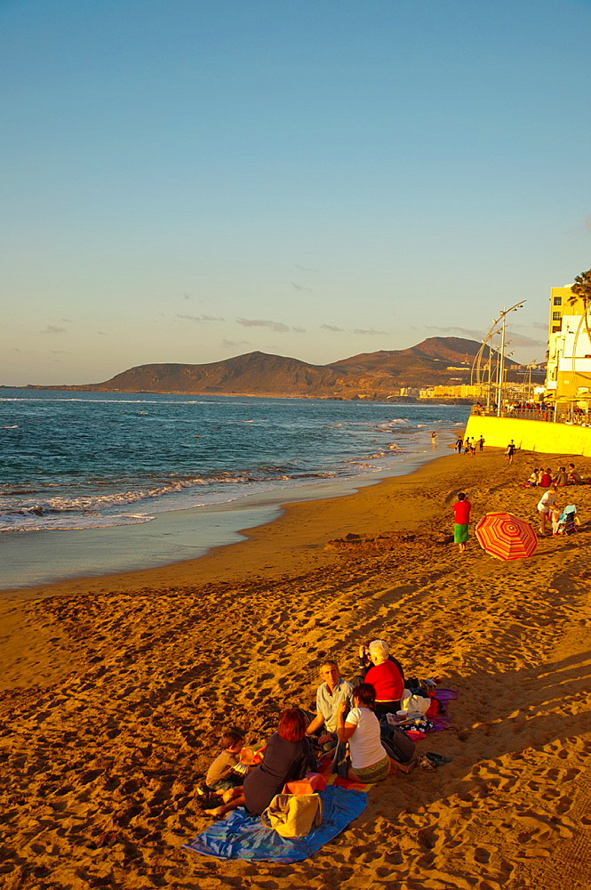 Playa de las Canteras beach Santa Catalina district Las Palmas de Gran Canaria island the Canary Islands Spain Europe