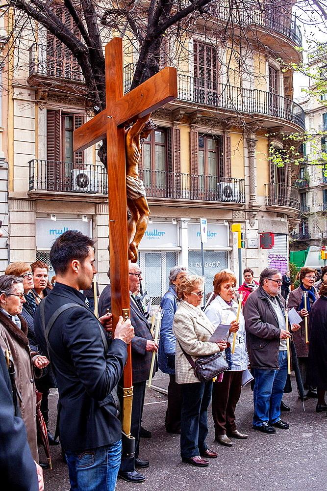 Representation, Way of the Cross, Good Friday, Easter week, from church of Sant Ramon de Penyafort to church of la Mare de Deu dels Angels, Rambla Catalunya, Barcelona, Catalonia, Spain