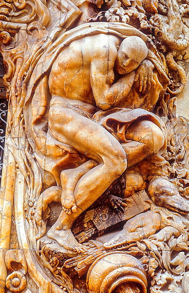 Detail,Facade of Marques de Dos Aguas palace 18th century,Valencia,Spain