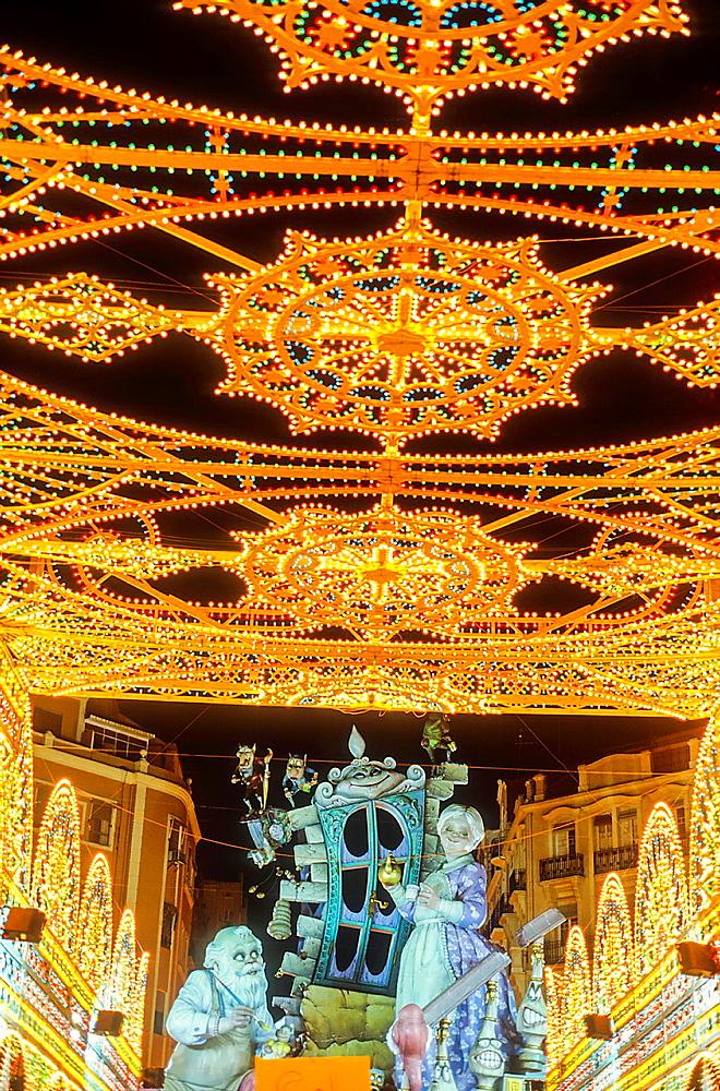 Falla of Sueca Literato Azorin, Fallas festival,Valencia,Spain