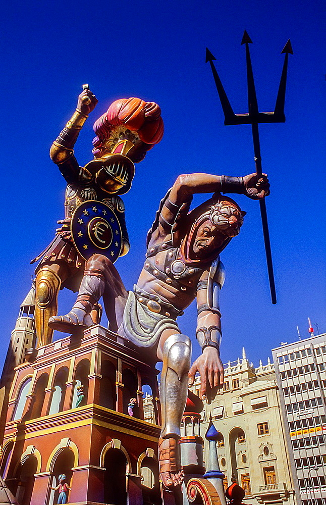 Falla of Plaza del Ayuntamiento,Fallas festival,Valencia,Spain