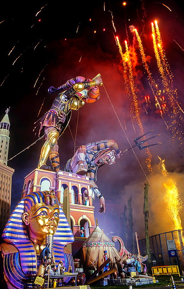 Falla of Plaza del Ayuntamiento and fireworks,Fallas festival,Valencia,Spain