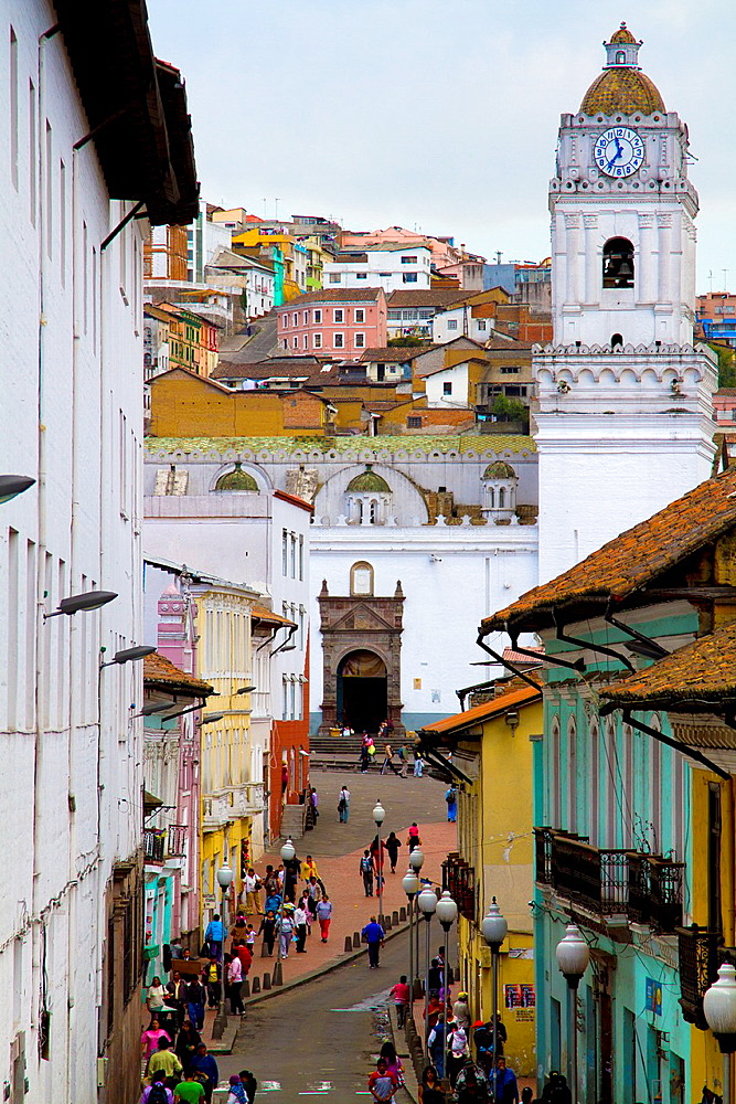Ecuador, Quito, Calle Cuenca, in the back Convento de la la Merced.