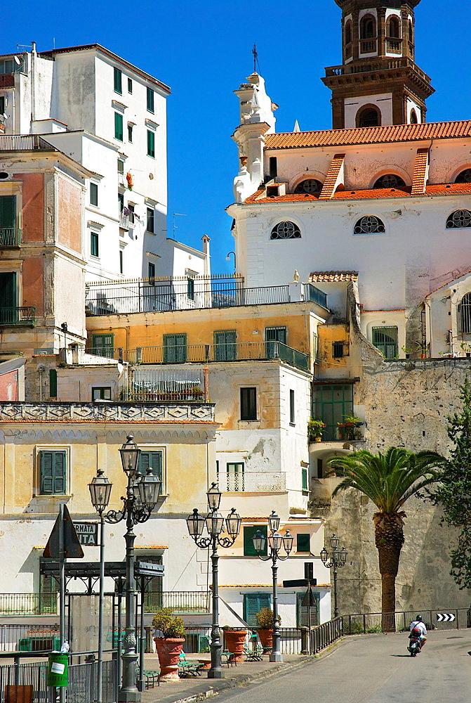 motor scooter and buildings at Atrani, Amalfi Coast