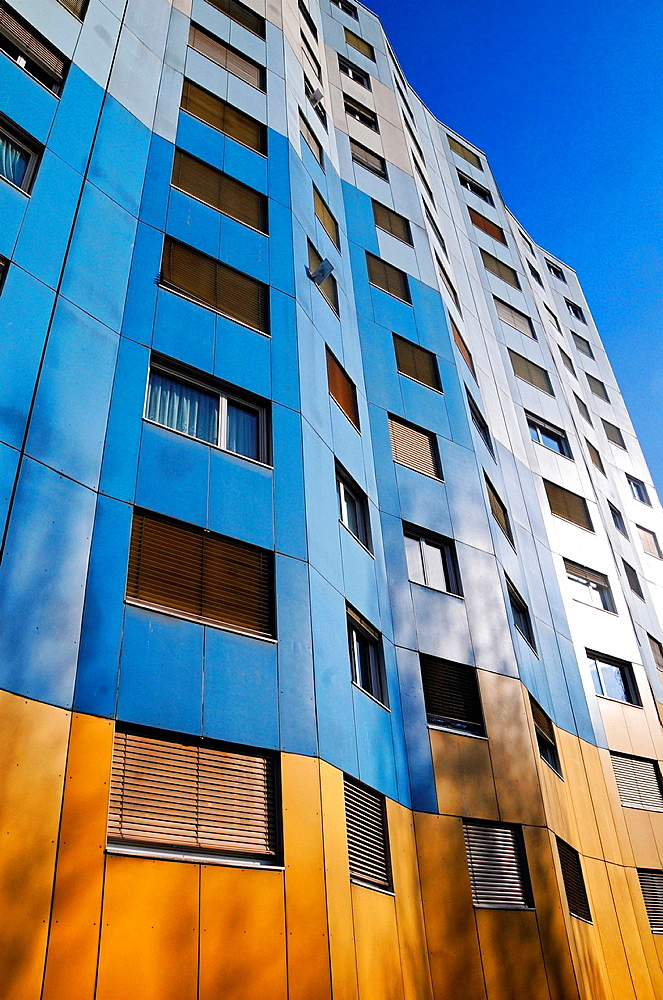 facade of residential building, flats, apartments, facade painting, Les Avanchets, Geneva, Switzerland, Europe