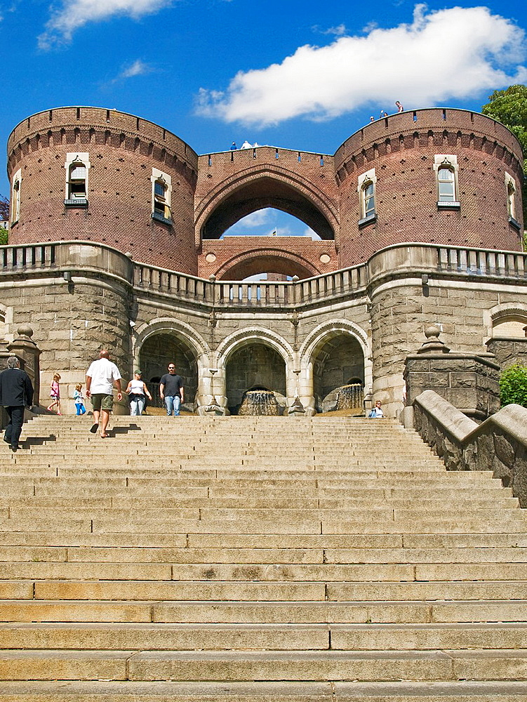Stairs to the Karnen, landmark of the city of Helsingborg, along the King Oscar II Terrace, Helsingborg Municipality, Skane County, Scania, Sweden, Europe