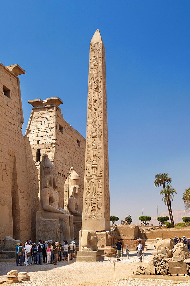 Luxor Temple of Amun, Egypt, the obelisk in front of pylons, Luxor, Upper Egypt, UNESCO