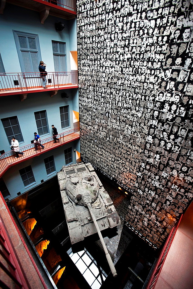 Entrance hall of the House of Terror, Human Rights Museum at former headquarters of Hungarian Secret Police. Budapest, Pest, Hungary, East Europe, Europe