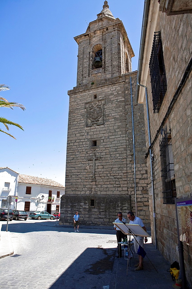 Painter and Bell tower of Sabiote, Jaen, Spain