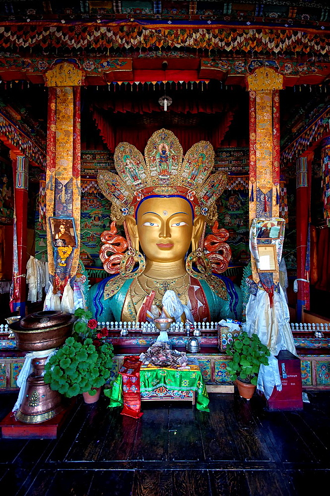 Maitreya Buddha at Thiksey monastery general view. India, Jammu and Kashmir, Ladakh, Thiksey