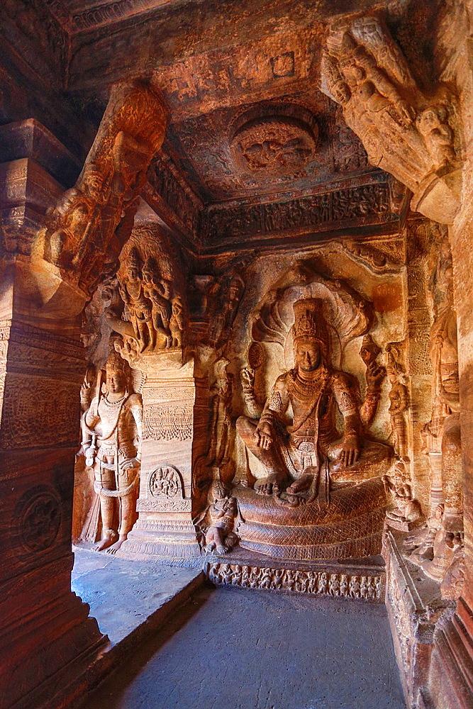 India, Karnataka State, Badami City, Badami Caves,Third Cave, dedicated to Visnu, built by Mangalesha