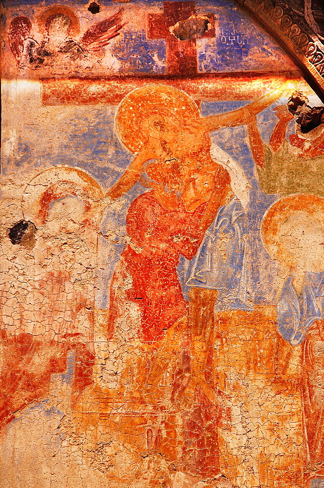 Wall painting in the medieval Armenian Sirli Kilise (Church of St Gregory of Tigran Honents, 1215), Ani, Anatolia, Turkey