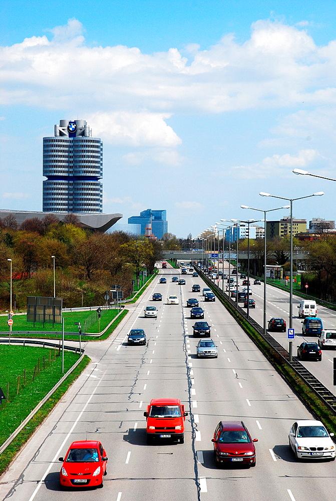Flowing traffic on the motorway in Munich