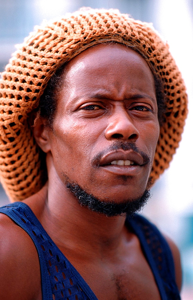 Portrait of a Cuban with Rasta Hat