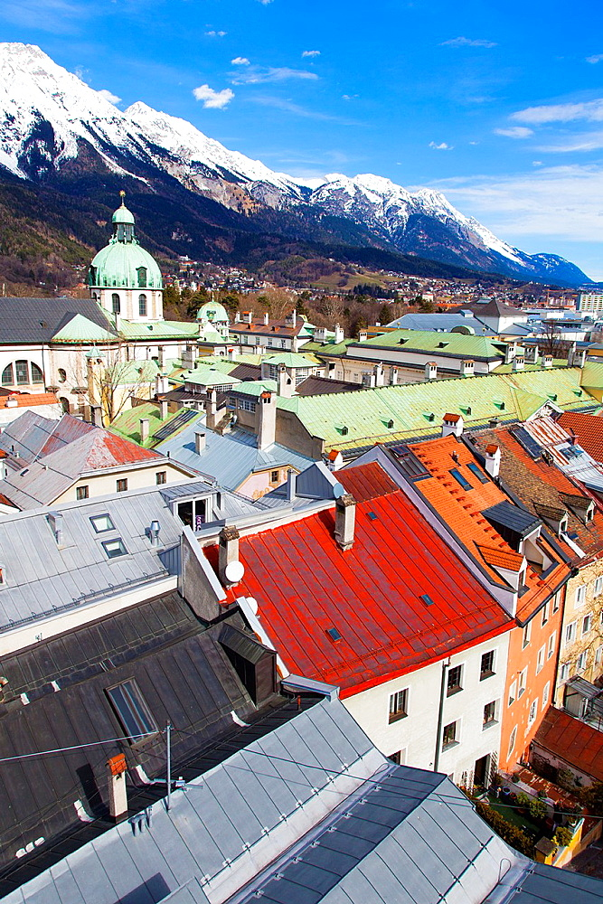 Innsbruck, view over city with cathedral of St. Jacob, Tyrol, Austria.