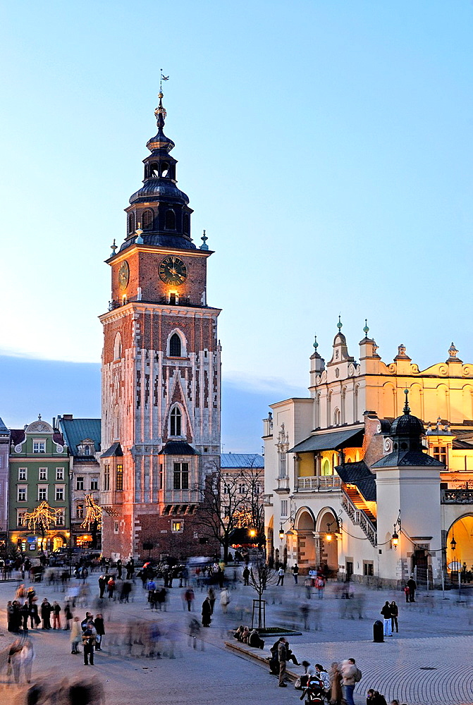 Cloth Hall and Tower of the former City Hall on Main market square, Krakow, Poland, Central Europe