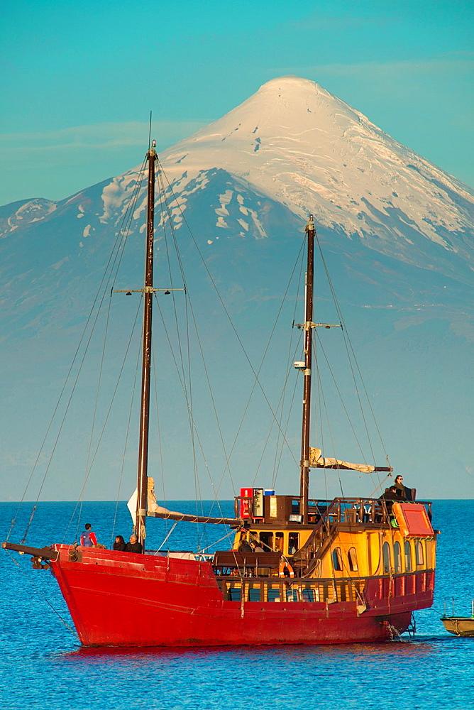 Llanquihue Lake and Osorno Volcano in Puerto Varas, southern Chilean province of Llanquihue, Los Lagos Region.