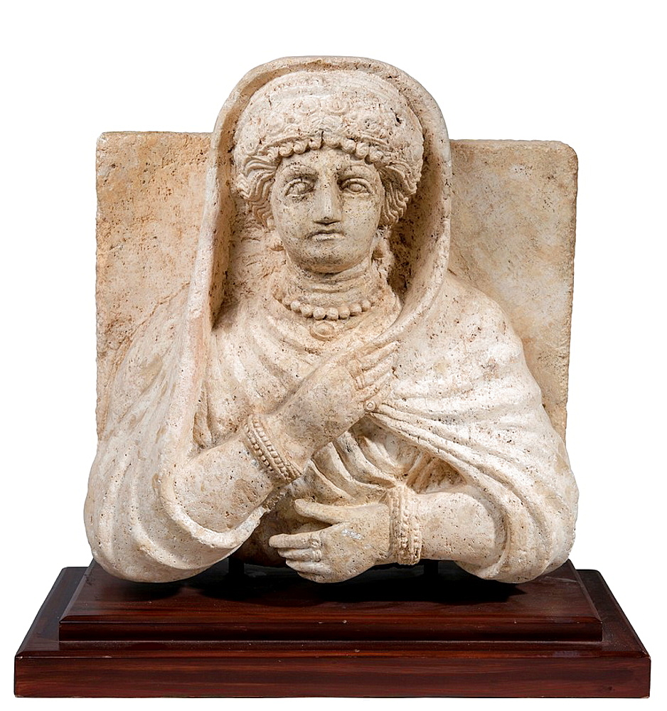 A Palmyrene stone bust of a woman Roman period 1-2 century CE.