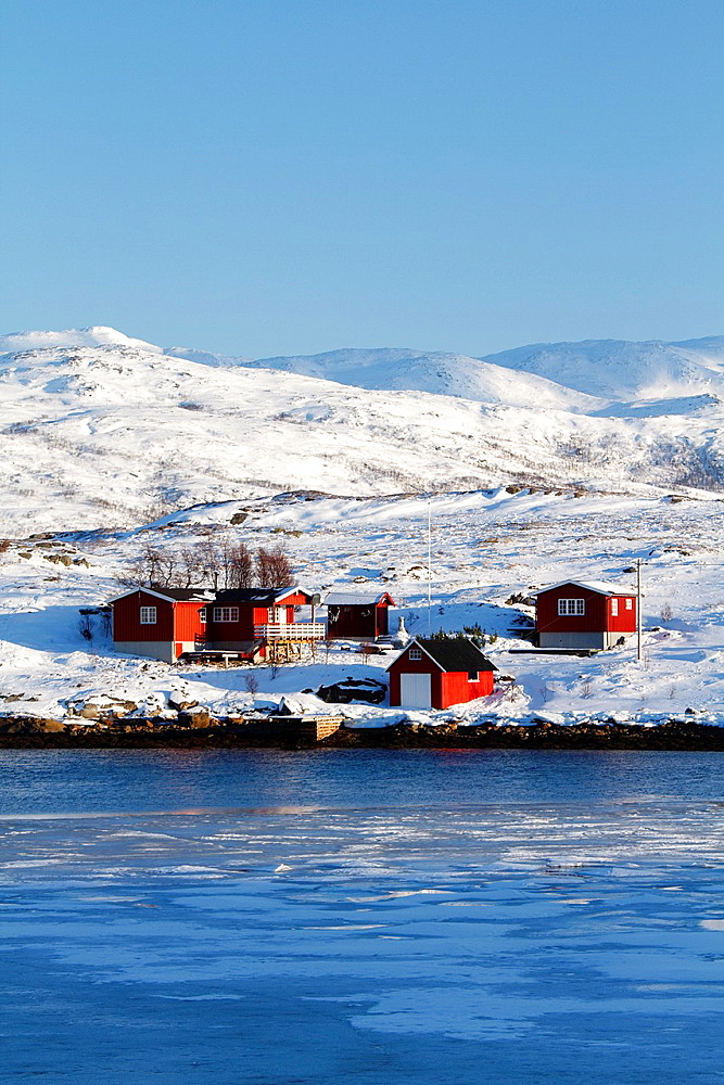 Red cottages in a norwegian fishing village.