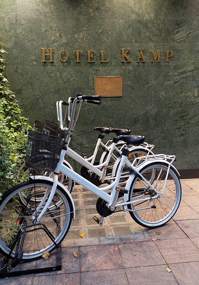 Bicycle parked in front of the Hotel Kamp, Helsinki Finland