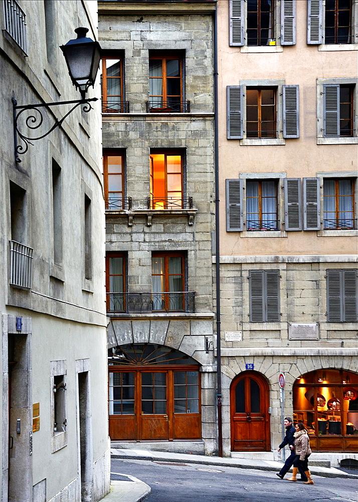 streets next to Place de Bourg-de-Four, old town of Geneva, Switzerland