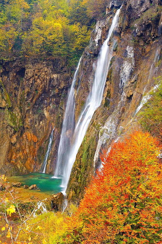 Croatia, Plitvice Lakes National Park, The Big Waterfall, Veliki Slap, Plitvice Lakes protected area in central Croatia, UNESCO.