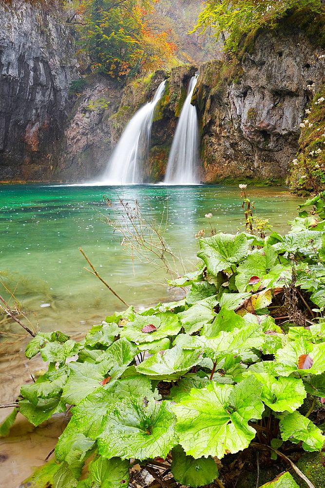 Croatia, Plitvice Lakes National Park, cascade between lakes, central Croatia, UNESCO.
