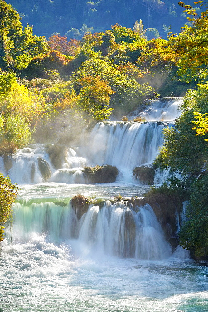 Waterfall with water cascades on the Krka River, Krka National Park in atumn time, Croatia.
