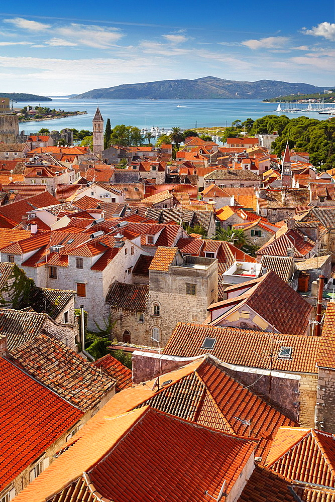Croatia, Trogir Old Town, aerial view from Belltower of Catheral of St Lawrence, Dalmatia, Croatia.