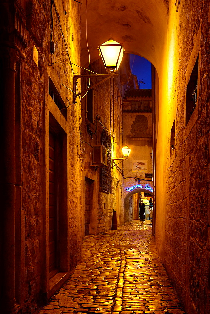 Croatia, Old Town in Trogir, street by night, Dalmatia, Croatia, UNESCO.