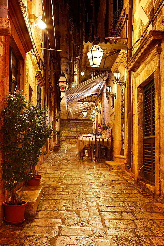 Croatia, Dubrovnik, Old Town street by night, Dalmatia, Croatia, UNESCO.