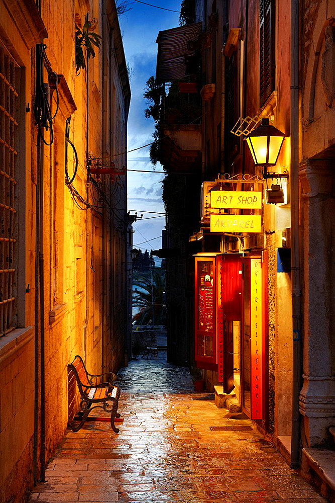 Croatia, Korcula Island, Korcula Old Town, street by night, Dalmatia, Croatia.