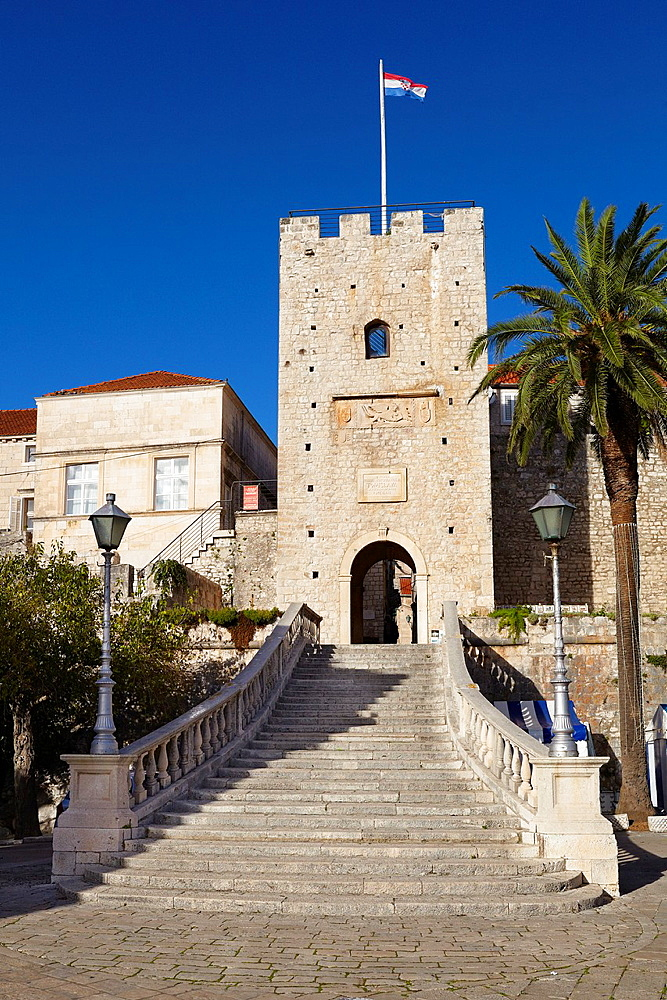 Croatia, Korcula Island, Land Gate in Korcula Old Town, Dalmatia, Croatia.